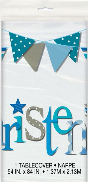 Blue Christening Plastic Tablecover